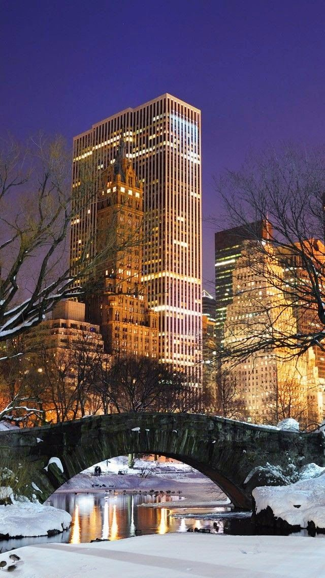 New York City at Night from Central Park in the snow A Taste of 640x1136
