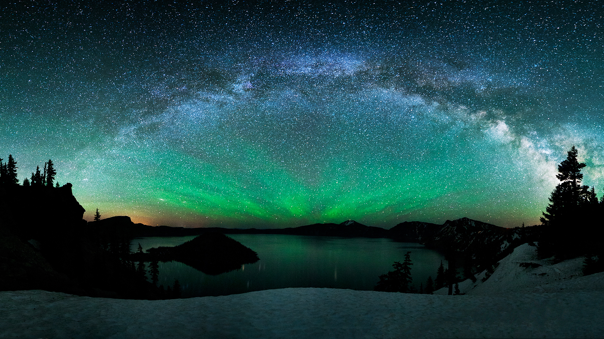 stars winter snow Northern Lights aurora borealis wallpaper background 1920x1080