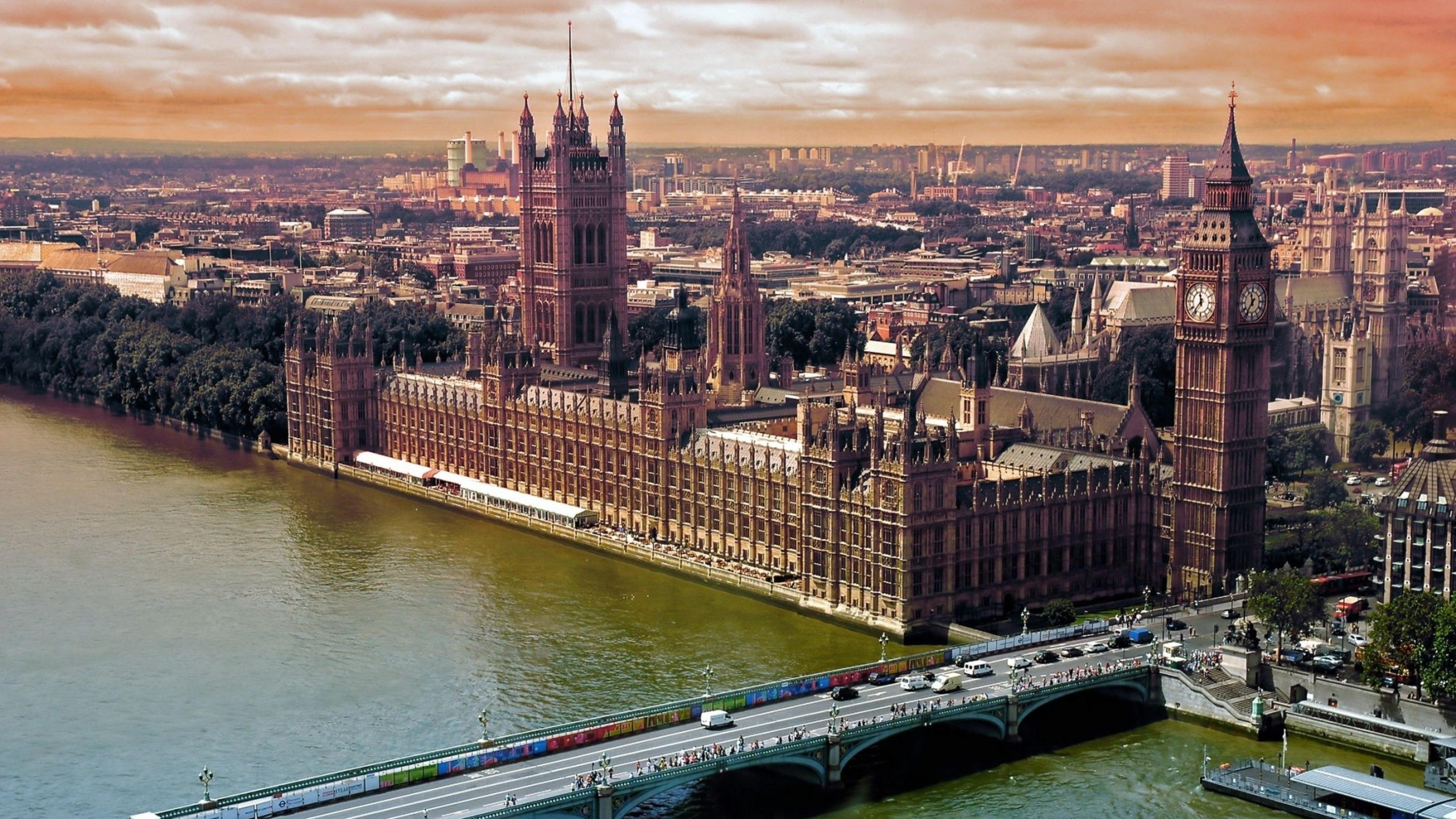 London Top view Bridge Big ben Wallpaper Background 4K Ultra HD 3840x2160