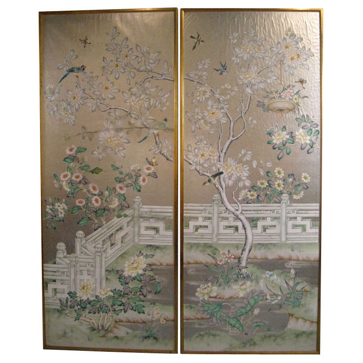 Chinoiserie Chic Framed Chinoiserie Wallpaper Panels 745x746