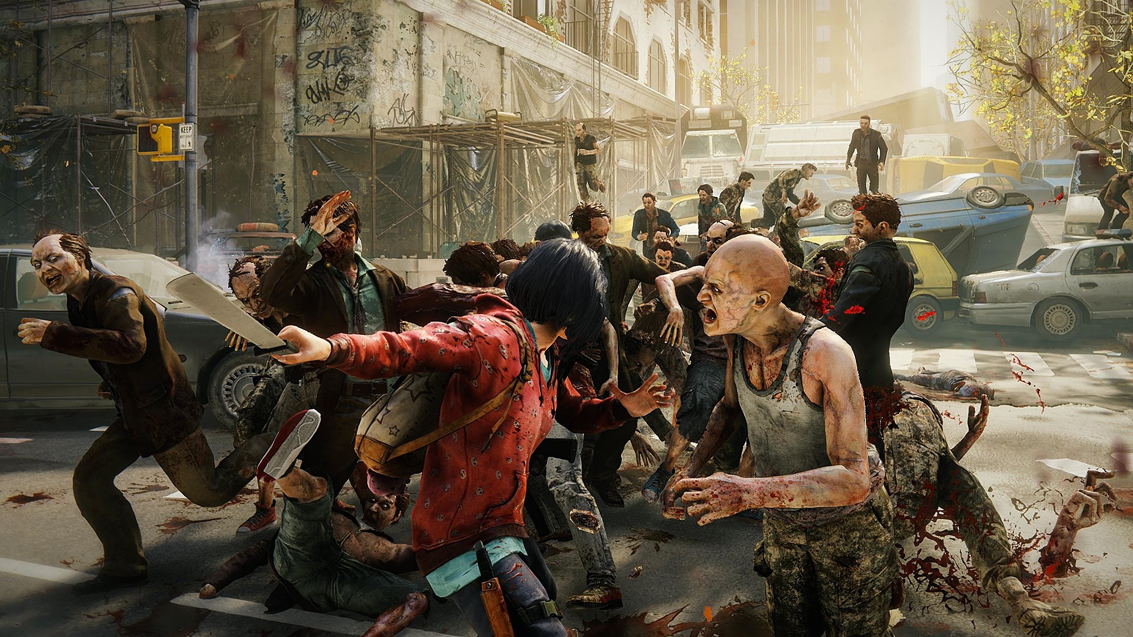 World War Z Fighting Zombies Game 4K Wallpaper 5 3840x2160