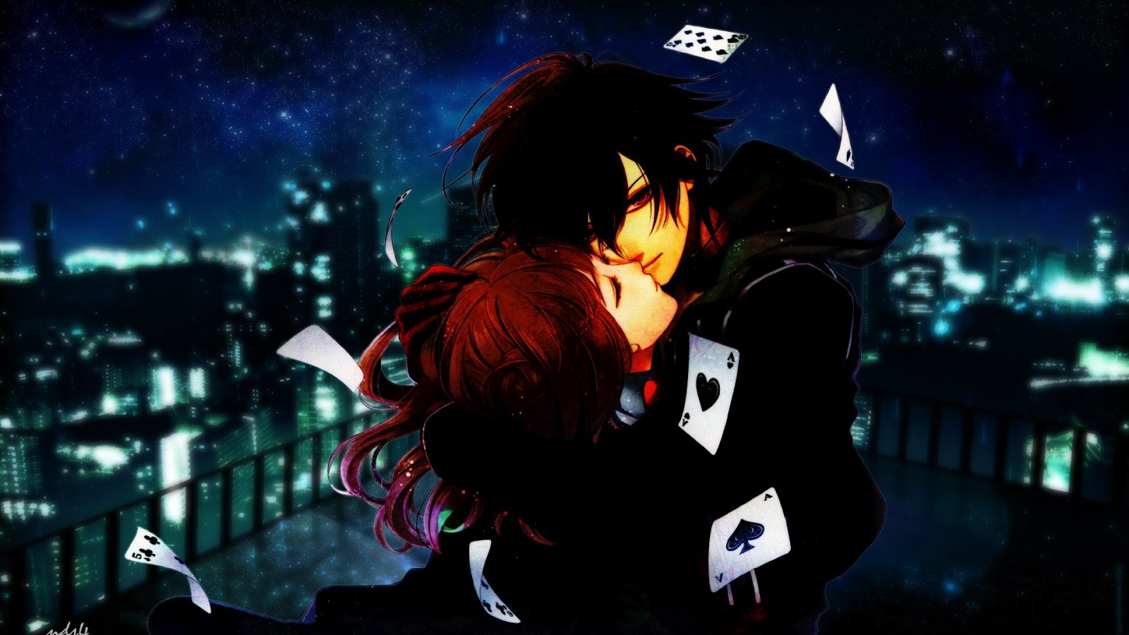 Sweet Couple Kissing Cards Anime HD Wallpaper Desktop PC Background 1600x900