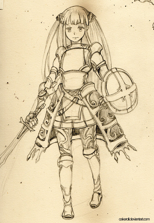 Female Knight Armor Drawing Female knight Pencil sketch by 600x867
