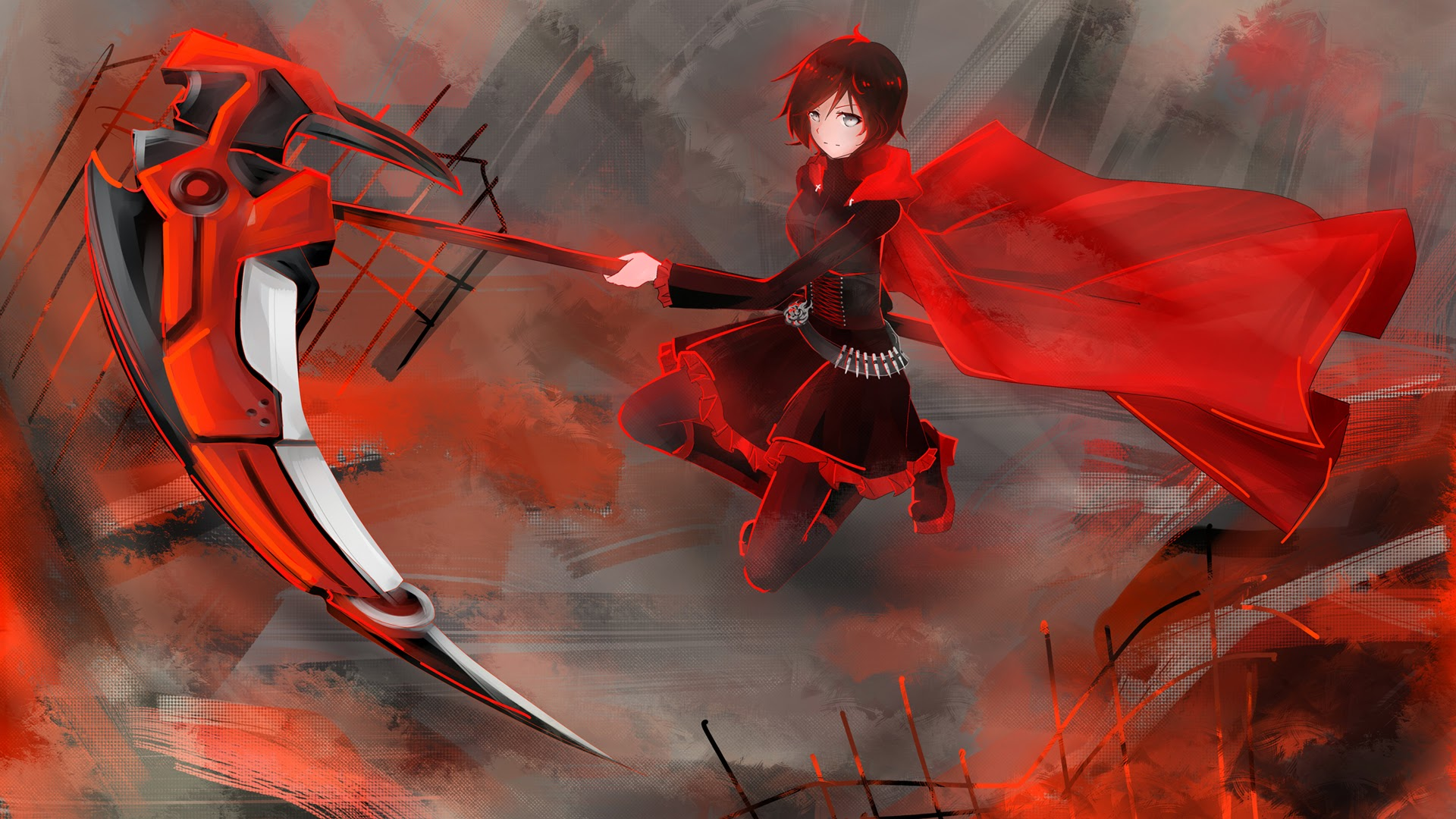 ruby rose rwby high caliber sniper scythe weapon cape girl animation 1920x1080