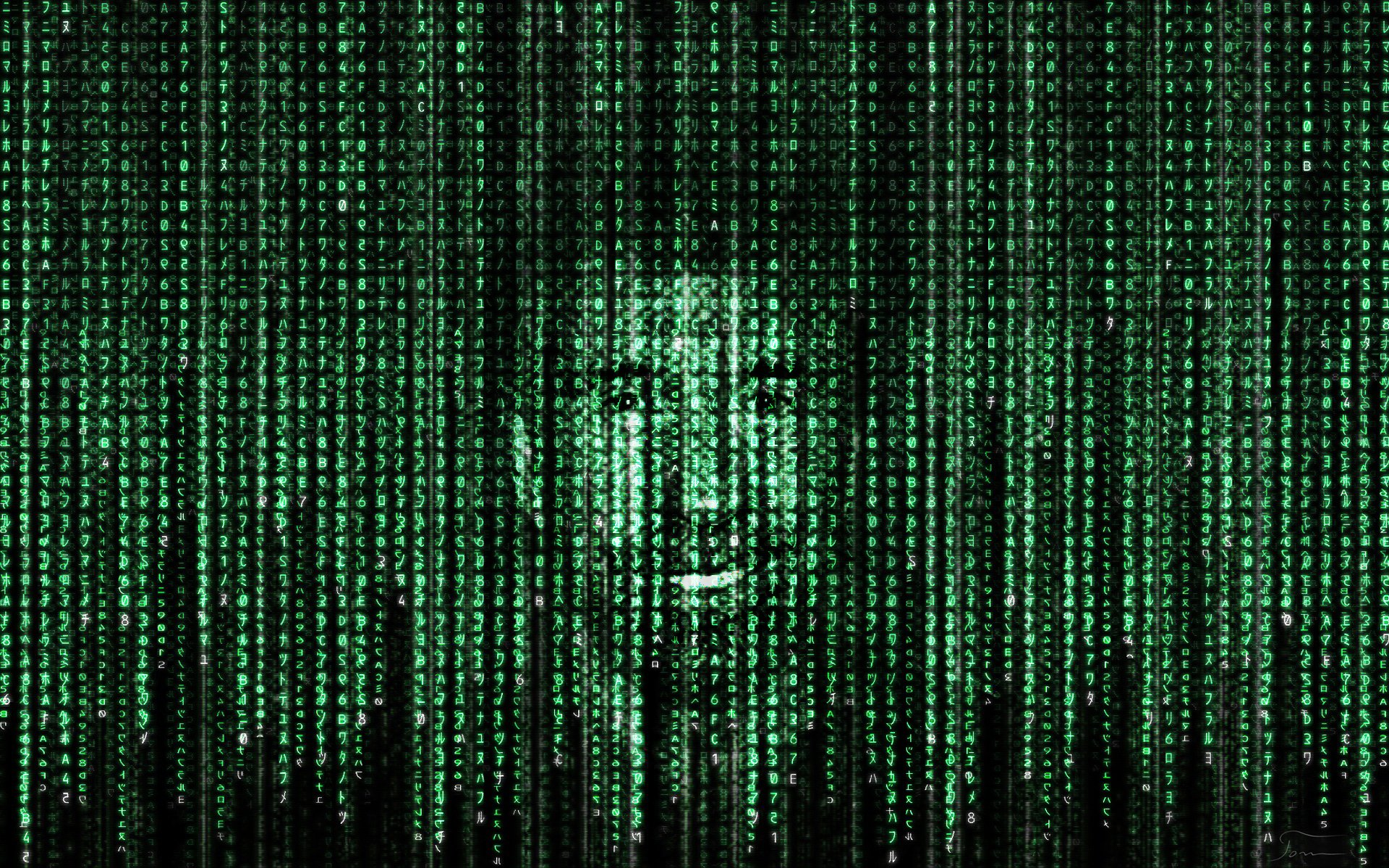 Chuck Norris in matrix code by tomhotovy 1920x1200