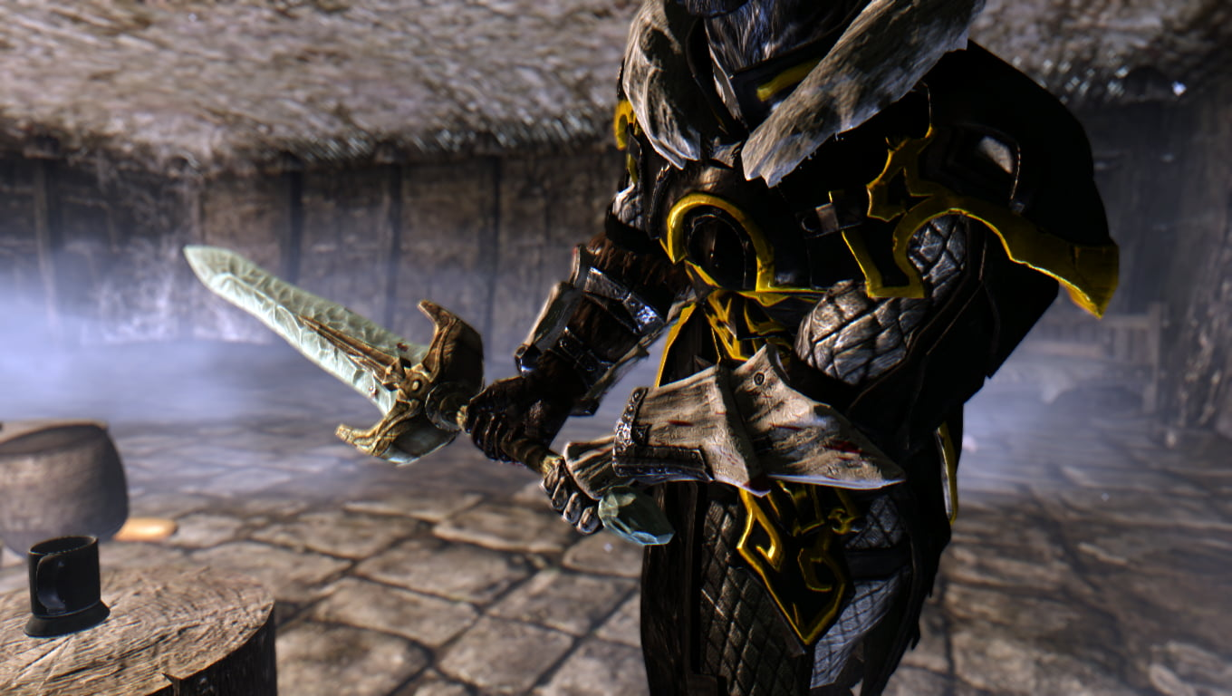 Black and yellow dresses swordsman digital wallpaper The Elder 1360x768