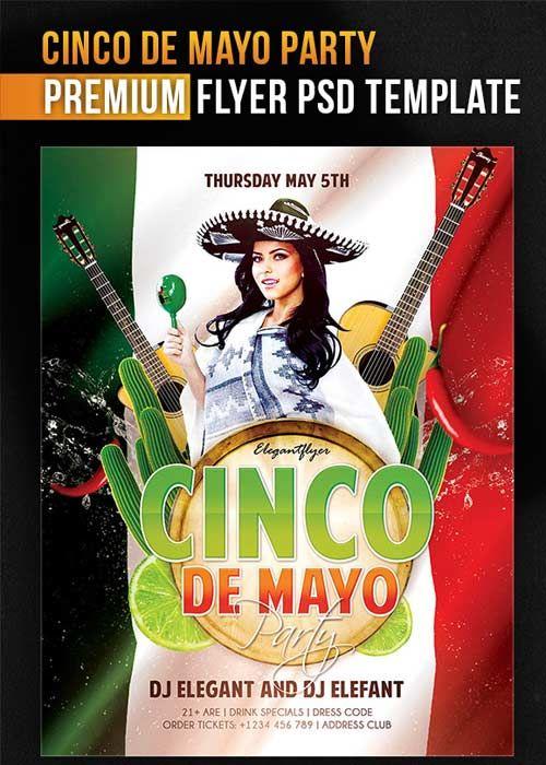 Cinco de mayo party v5 flyer psd template facebook cover 500x700