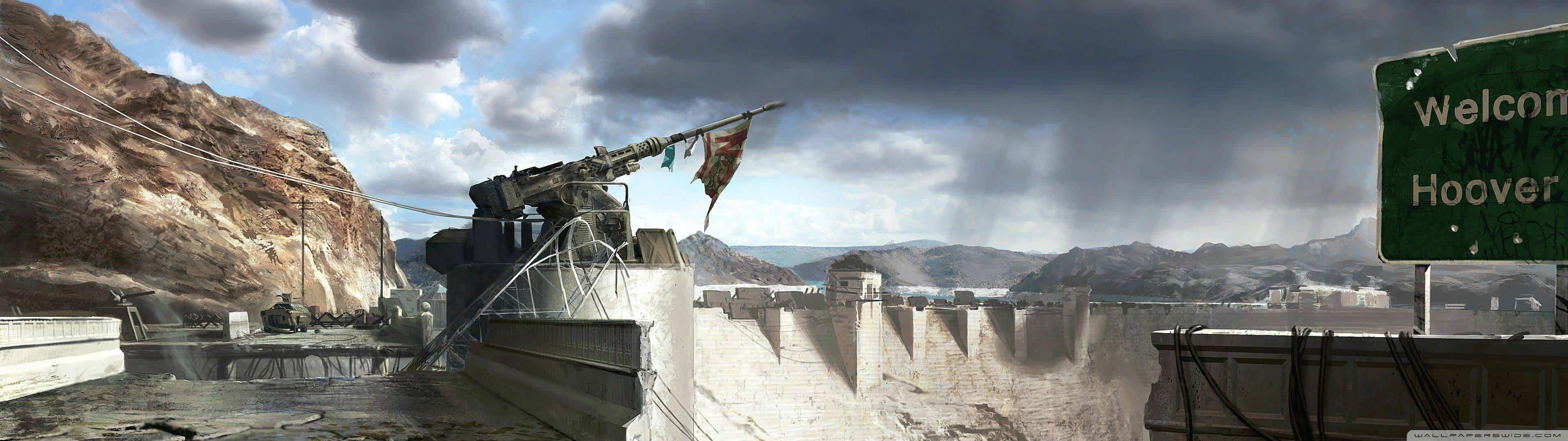 Fallout New Vegas Hoover Dam Dual Monitor Wallpaper Pixelz 3840x1080