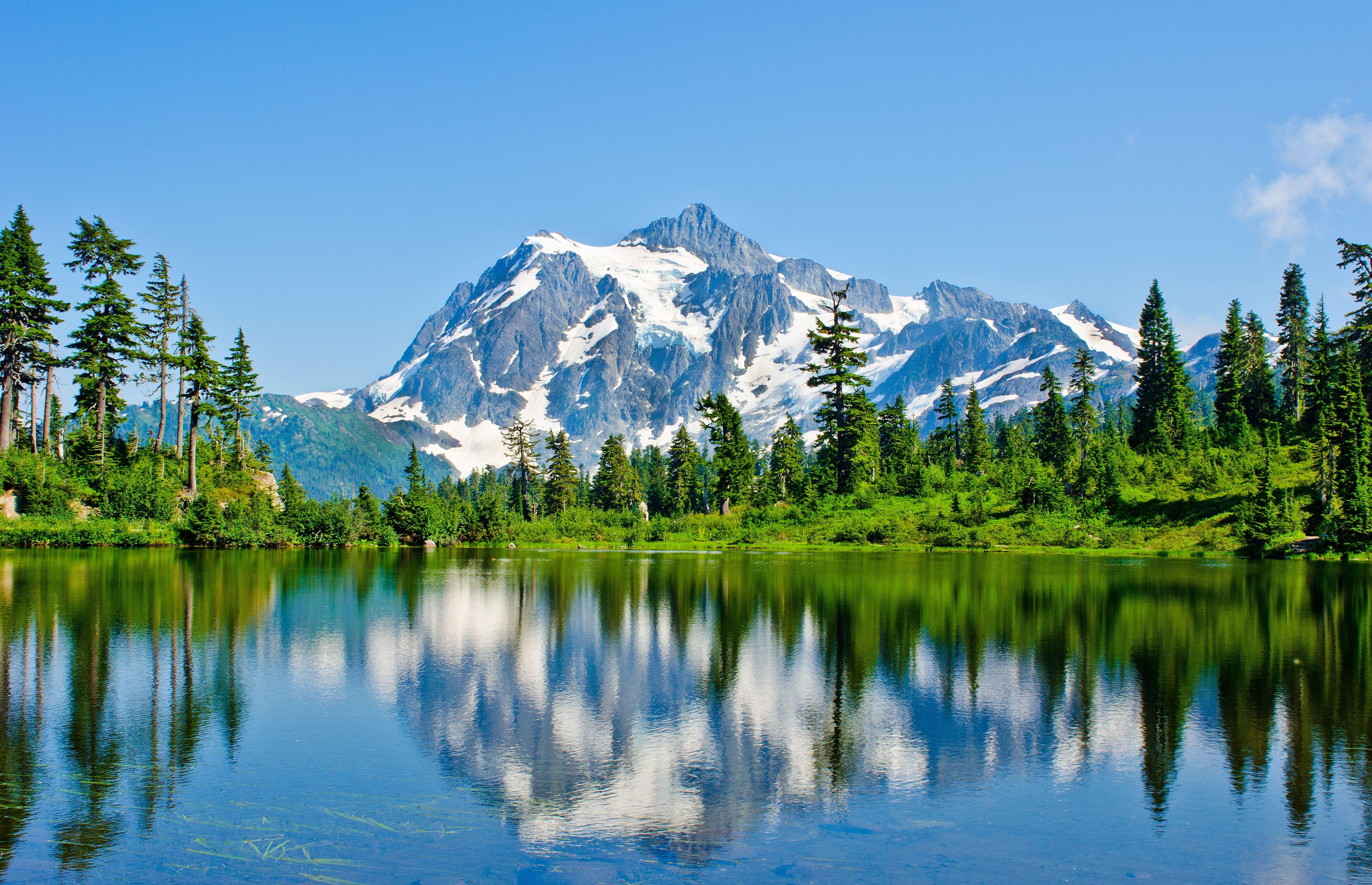 горы озеро деревья небо  № 3234823 загрузить