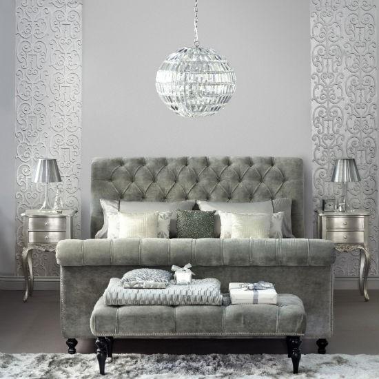 Velvet Headboard Footstool Metallic Wallpaper And Glass Chandelier 550x550