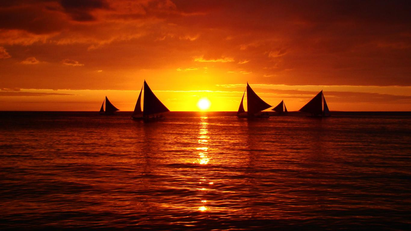 Ocean Sunset Sailboat HD Wallpaper Background Images 1366x768