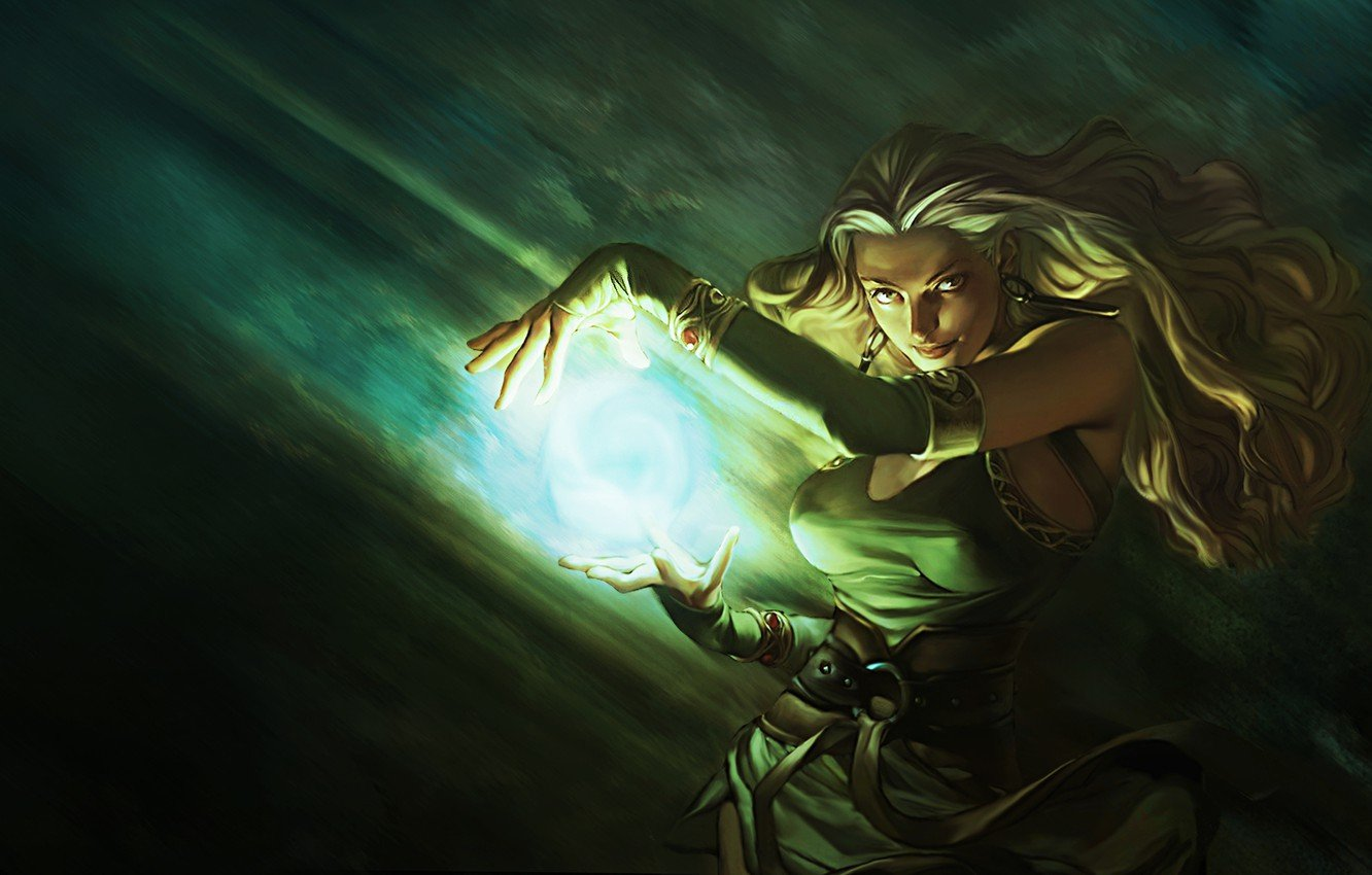 Wallpaper look Girl blonde sorceress fireball images for 1332x850