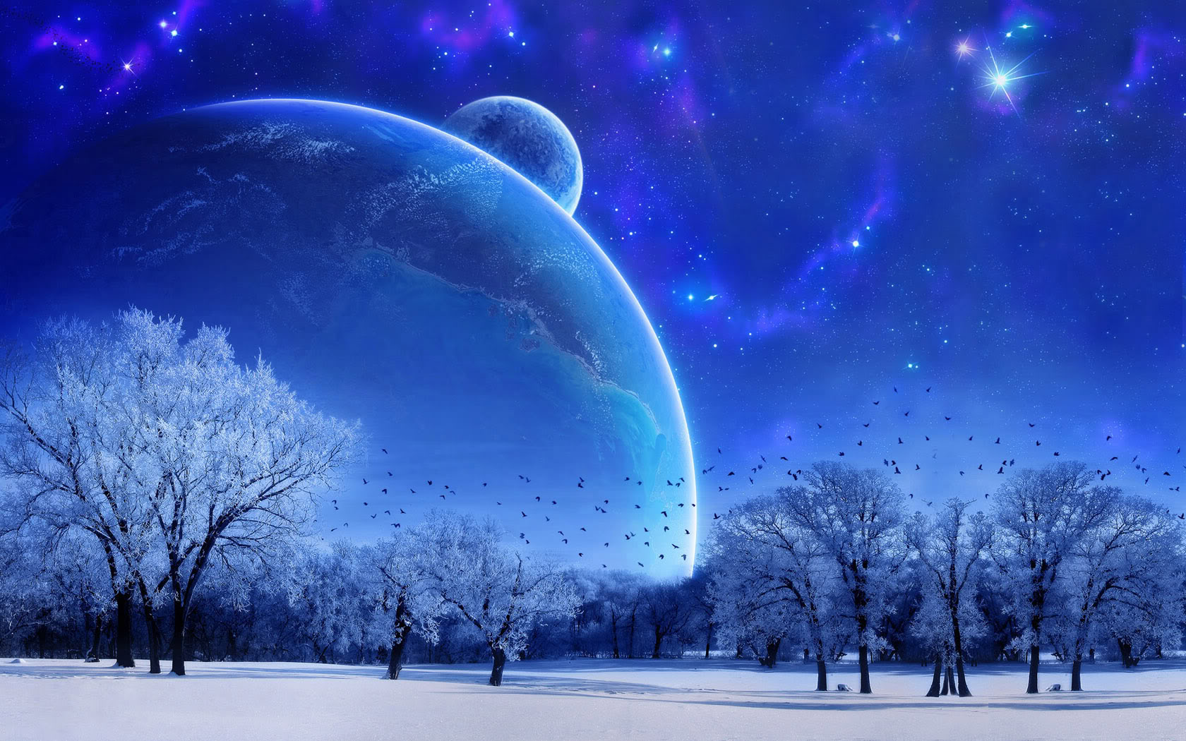 High quality Peacefull Winter Science Fiction Sci fi wallpaper 1680x1050
