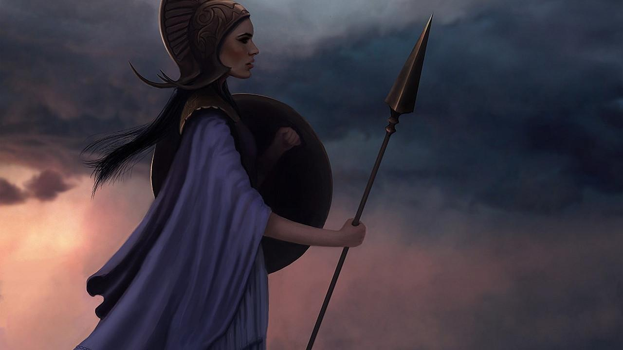 artwork female warriors athena greek mythology wallpaper 62020 1280x720