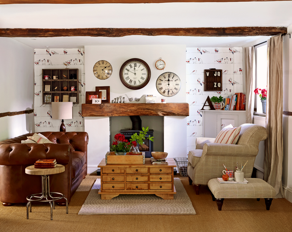 Free download Country style living room with bird wallpaper ...