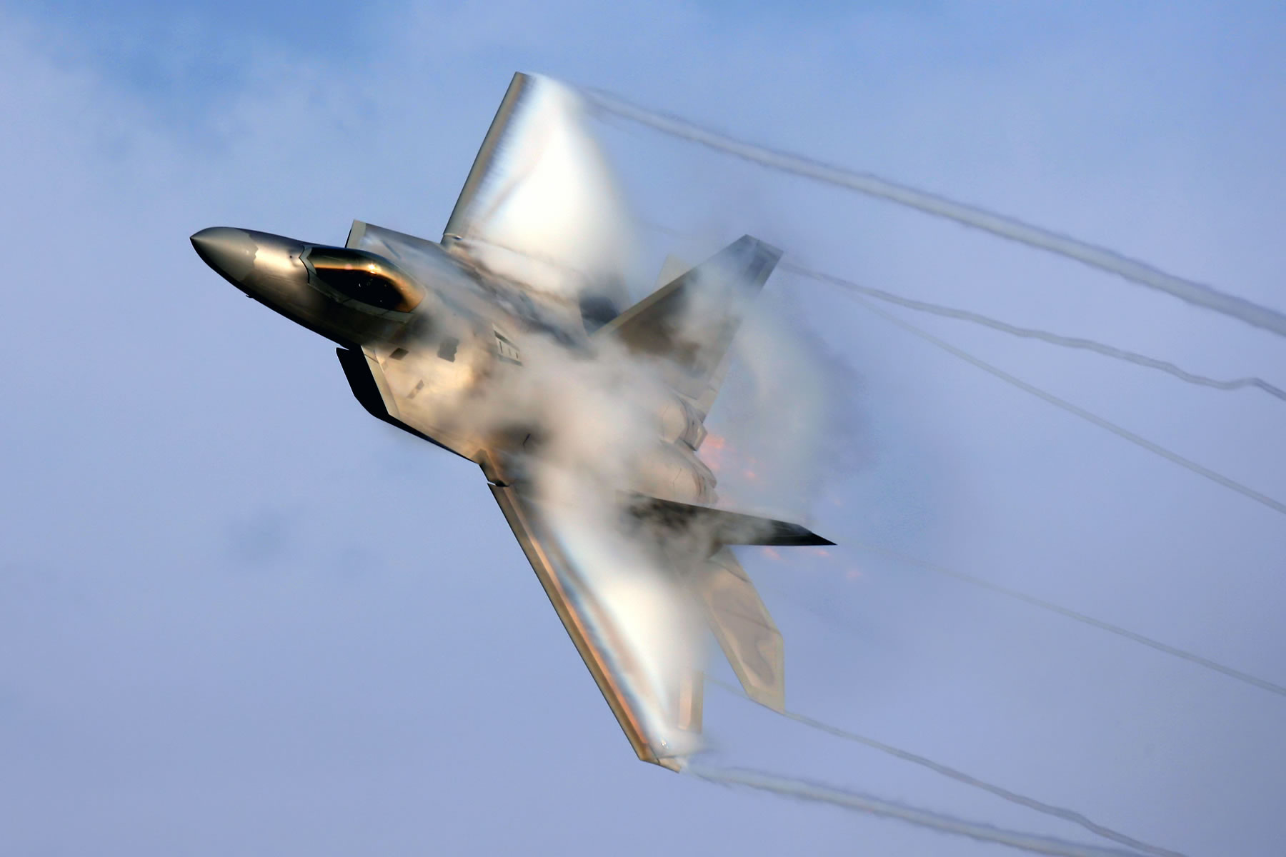 F22 Raptor With Vapor   Transport Wallpaper Image featuring Aircraft 1800x1200