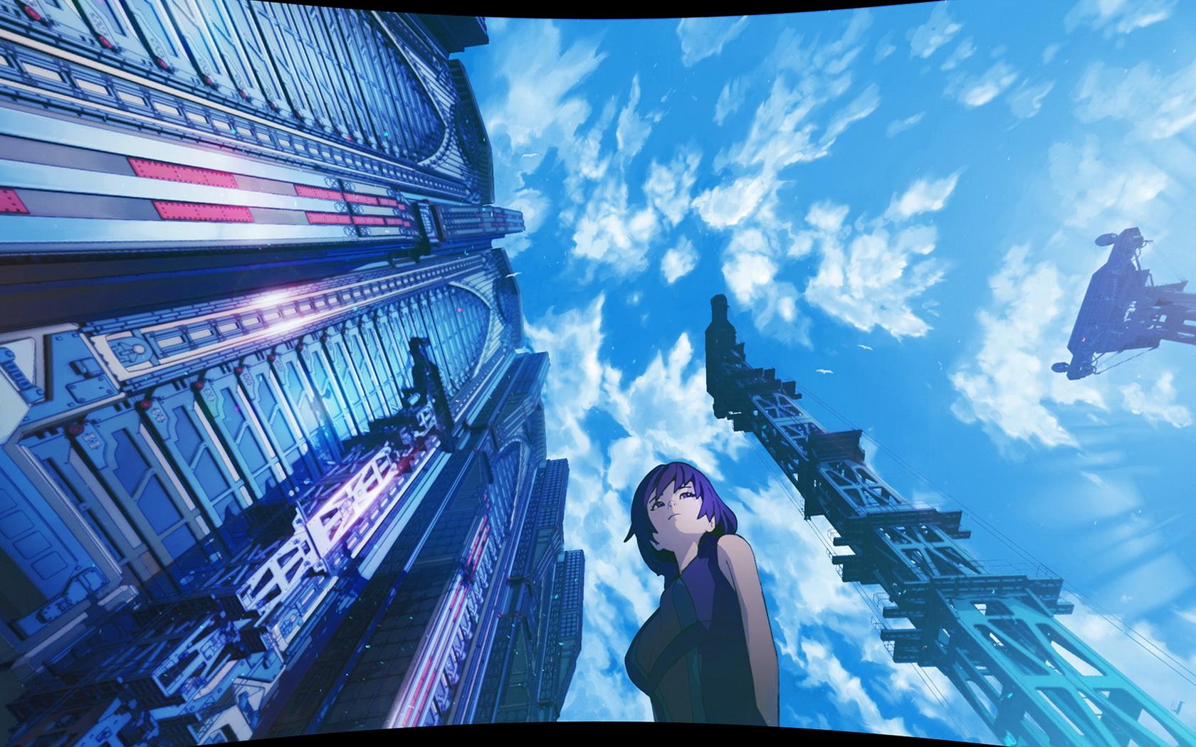 Anime Beauty Blue Buildings Wallpaper 13694 Wallpaper 1680x1050