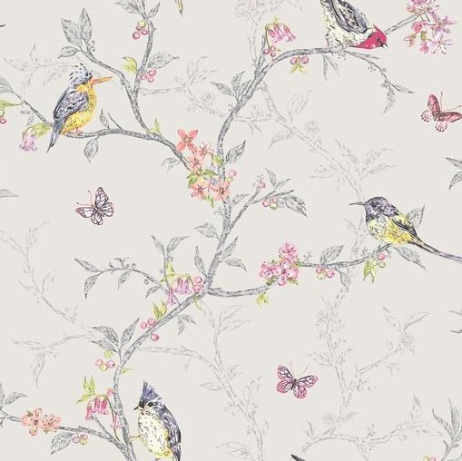 Birds and branches shabby chic wallpaper dove   The Shabby Chic Guru 509x508