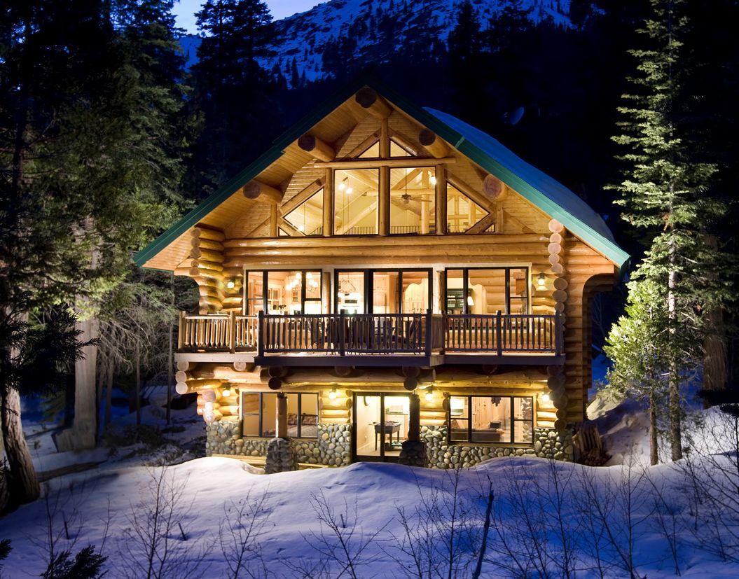 Cozy Log Cabin Winter Wallpaper 1055x827
