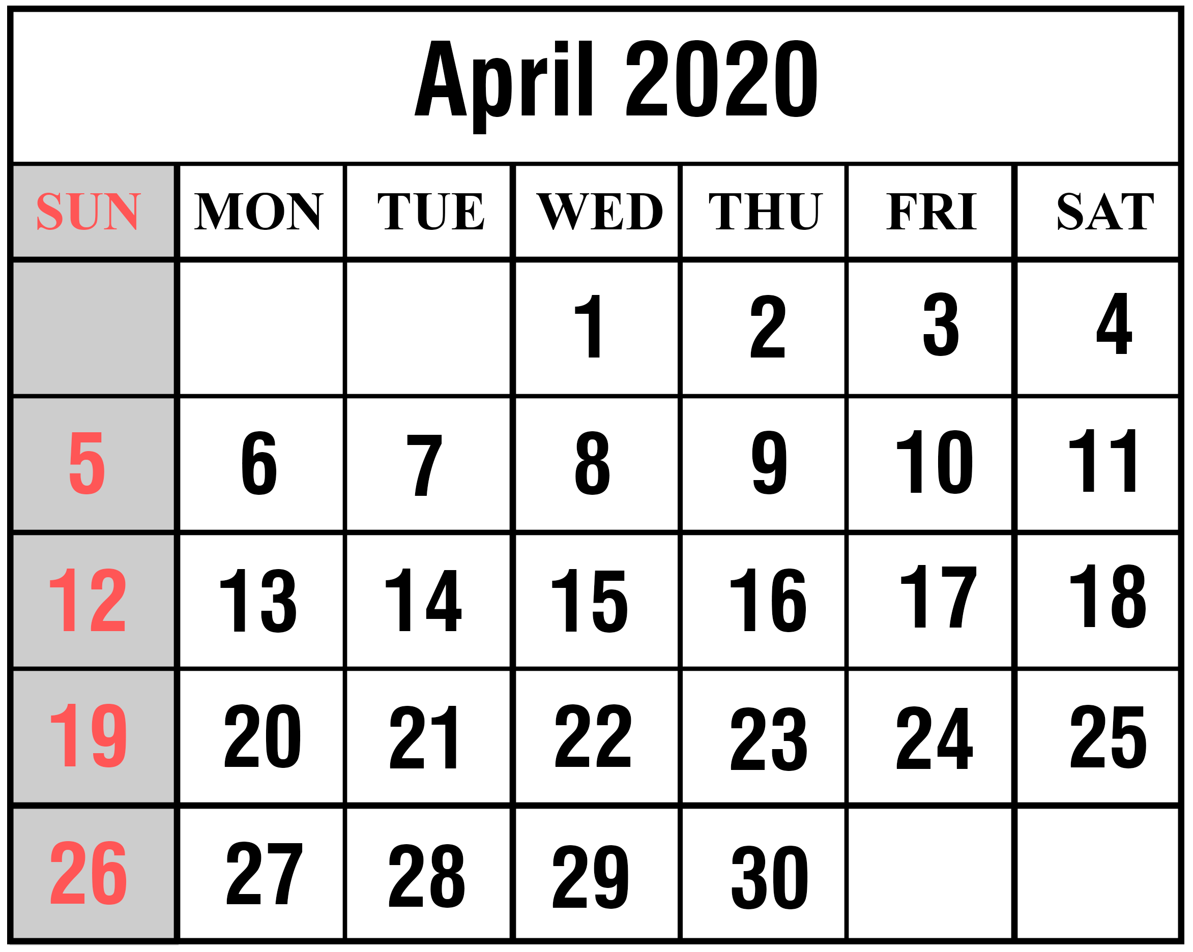 April 2020 Calendar Printable Monthly calendar template June 2345x1872