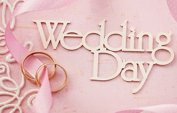 Wedding day pink background flowers ring lace soft wedding 596x380