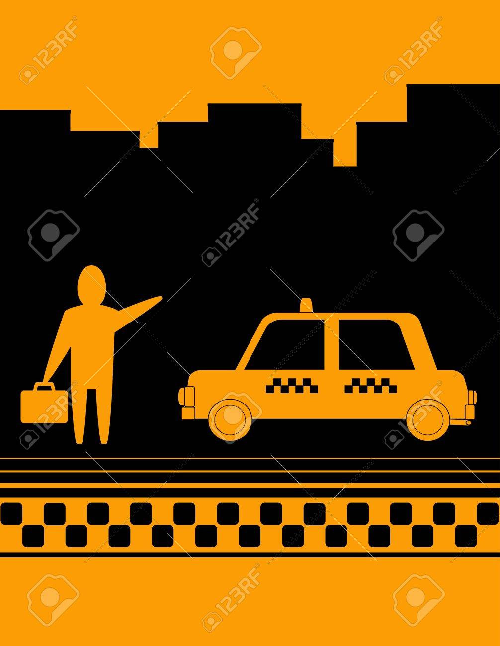 Yellow Taxi Background With Man Hand Up And Cab Royalty 1006x1300
