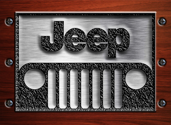 Jeep Logo Iphone Wallpaper Embossed steel jeep logo with 600x439