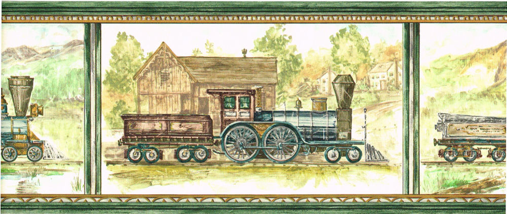 Locomotive Steam Engine Train Scenic Green Wallpaper Border eBay 1000x423