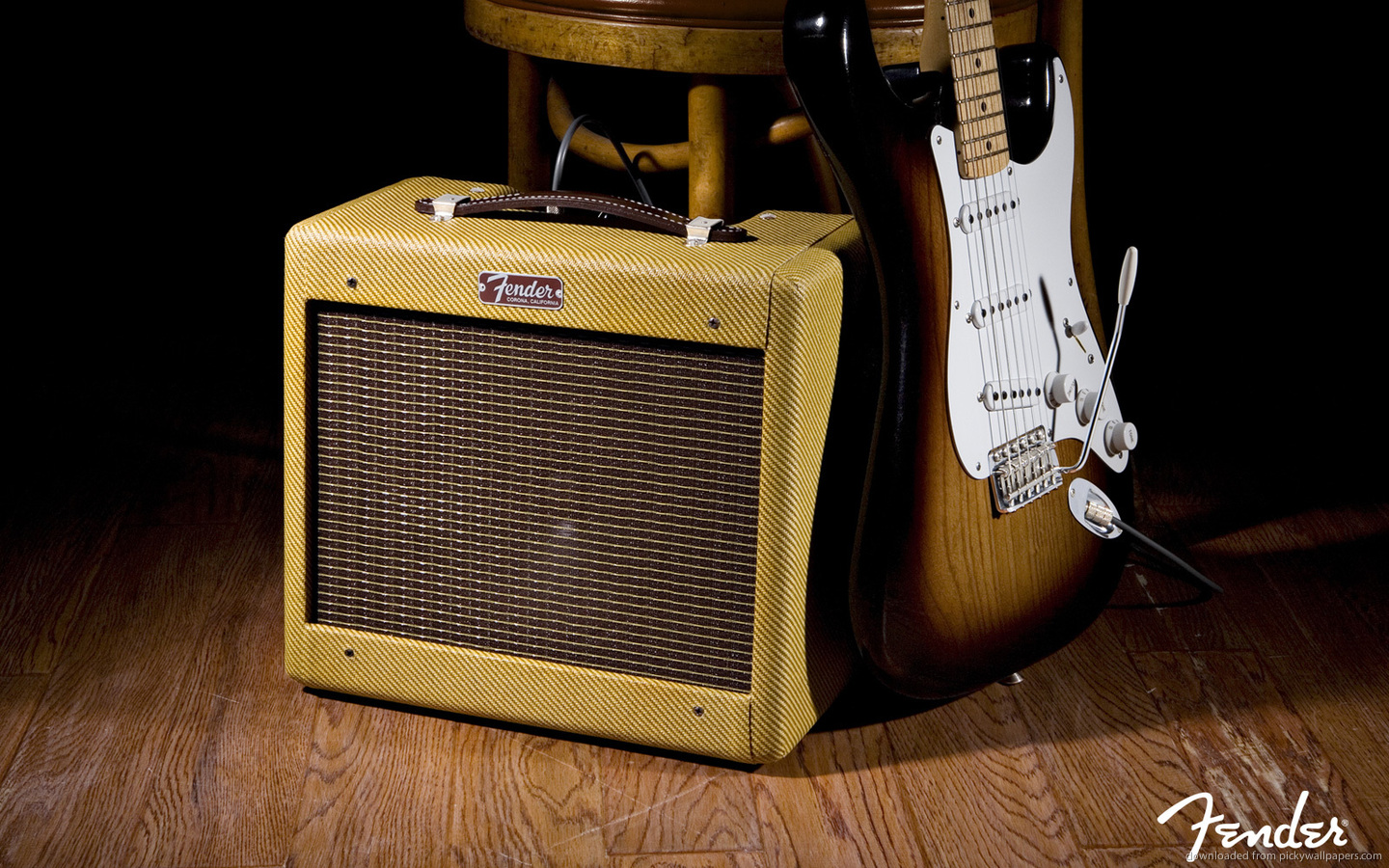 Download 1440x900 Old Fender Amp And Electric Guitar Wallpaper 1440x900