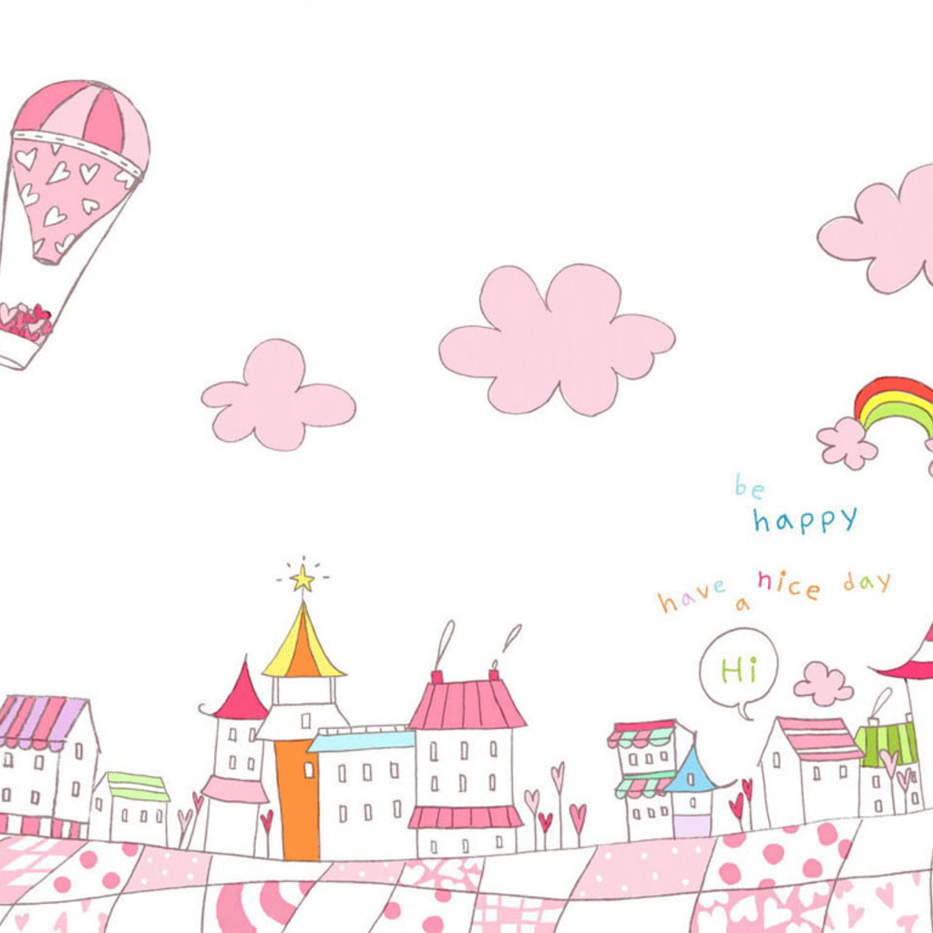 Pink Town Cute Wallpaper for Apple iPad Mini 1024x1024