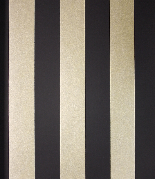 Stripe Wallpaper A matt black and mica gold wide striped wallpaper 534x615