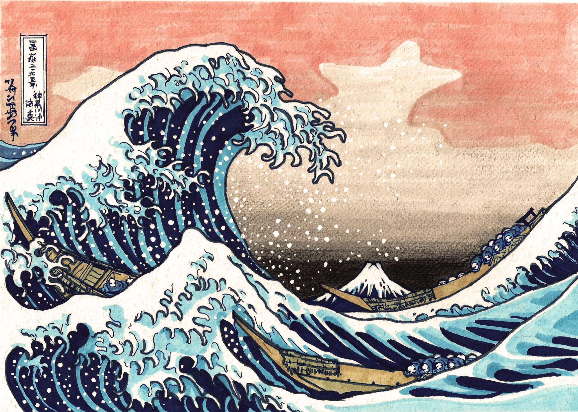 Great Wave Off Kanagawa Wallpaper Wallpapersafari