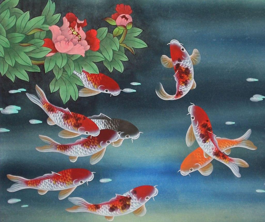 Koi fish background wallpapersafari for Koi wallpaper for walls