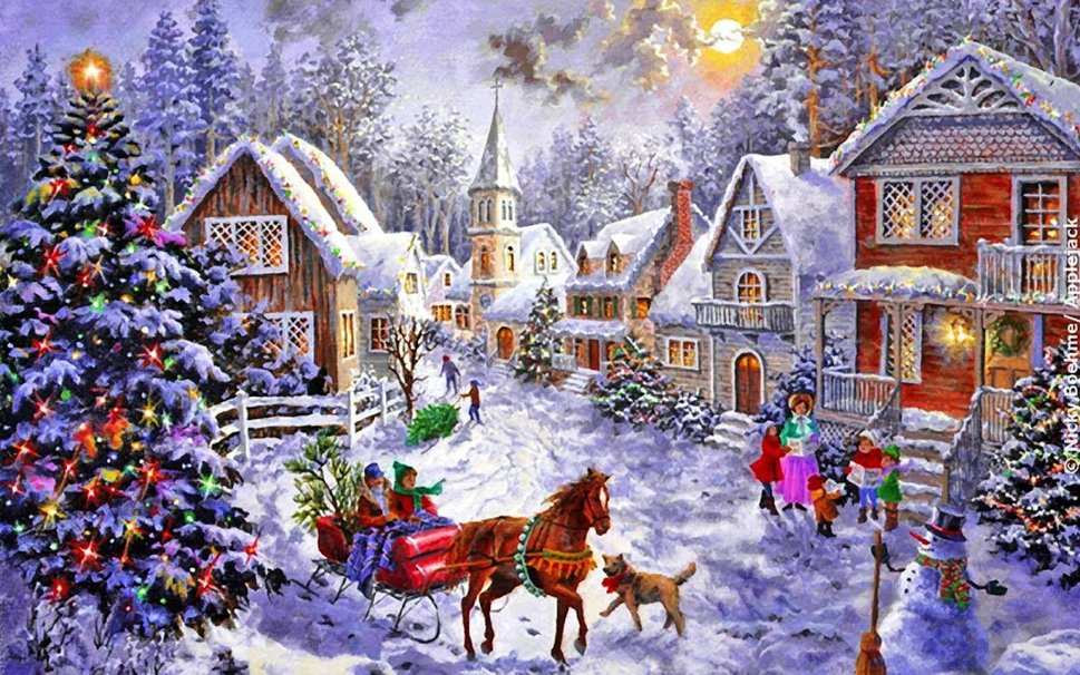 Christmas village backgrounds wallpapersafari for Screensaver natale 3d
