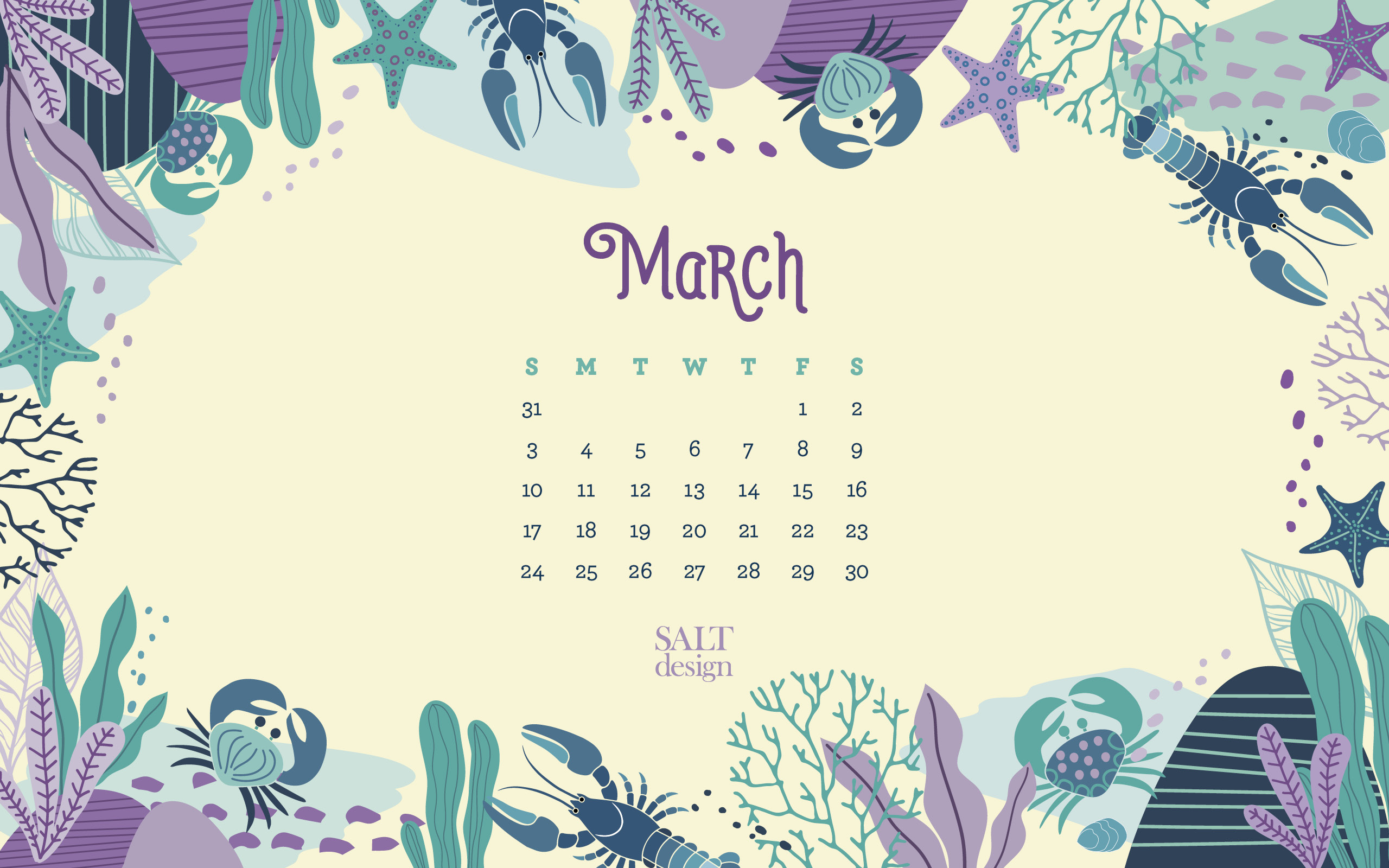 SALT 2019 March Calendar FREE Wallpaper   Salt Design 2560x1600