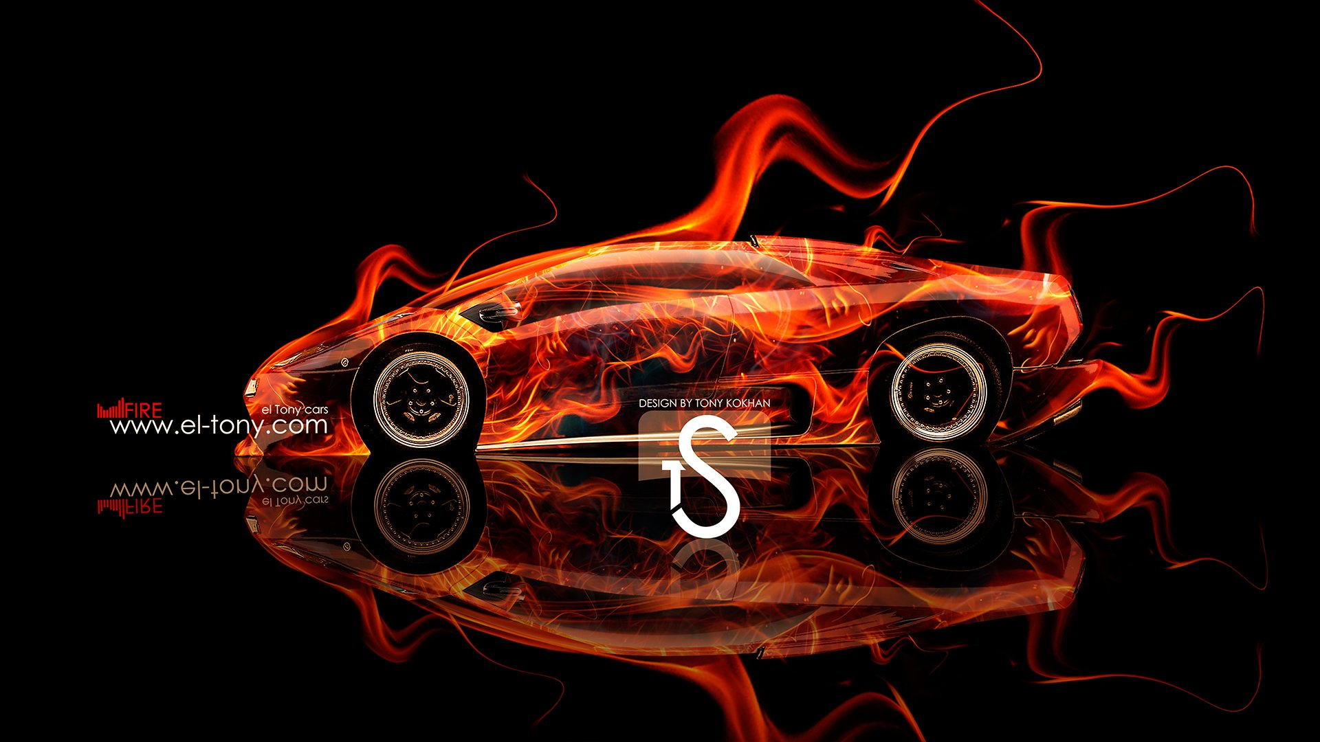 Lamborghini Diablo VT Side Fire Car 2013 HD Wallpapers design by Tony 1920x1080