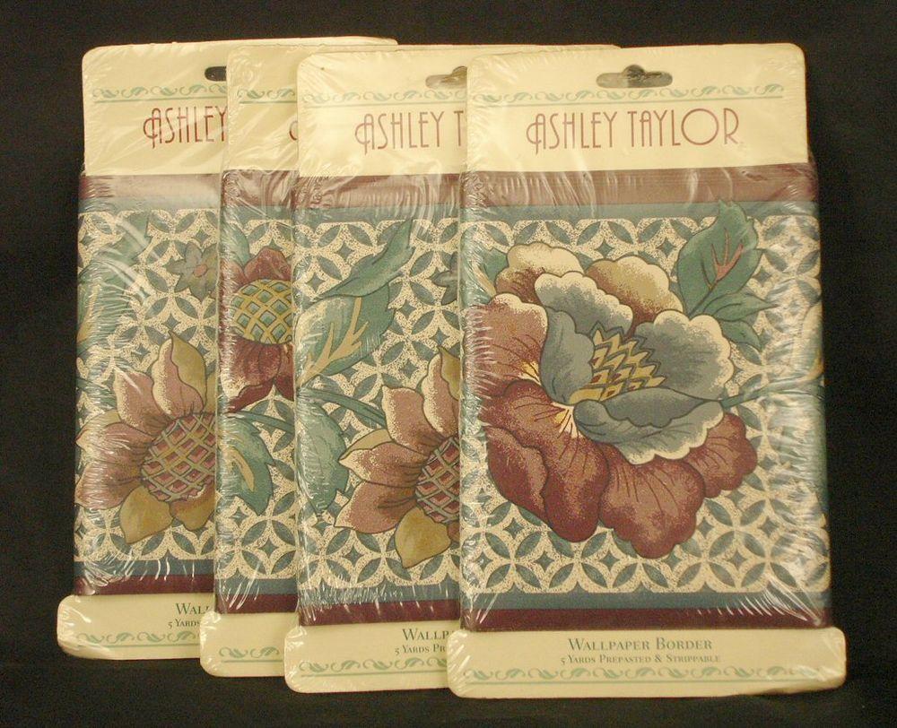 Taylor Wallpaper Border Burgundy Green White Floral Pattern eBay 1000x812