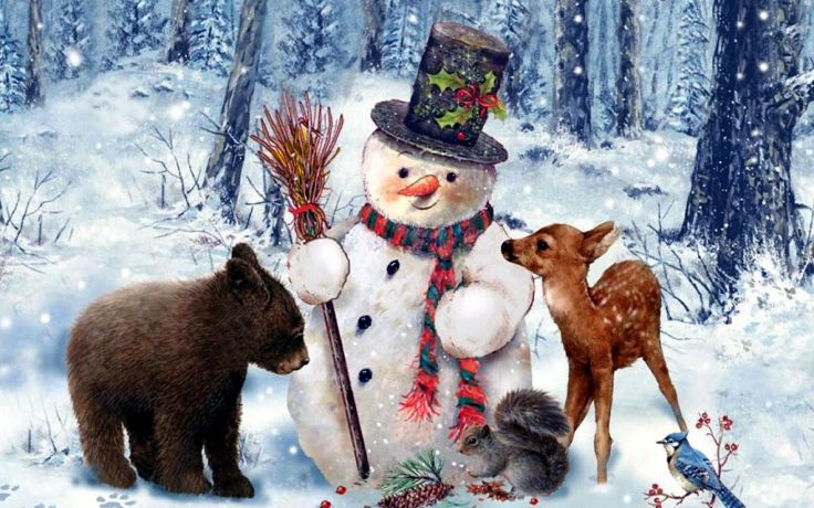 wide cute painting snowman winter animal deer dog wallpaper background 736x460