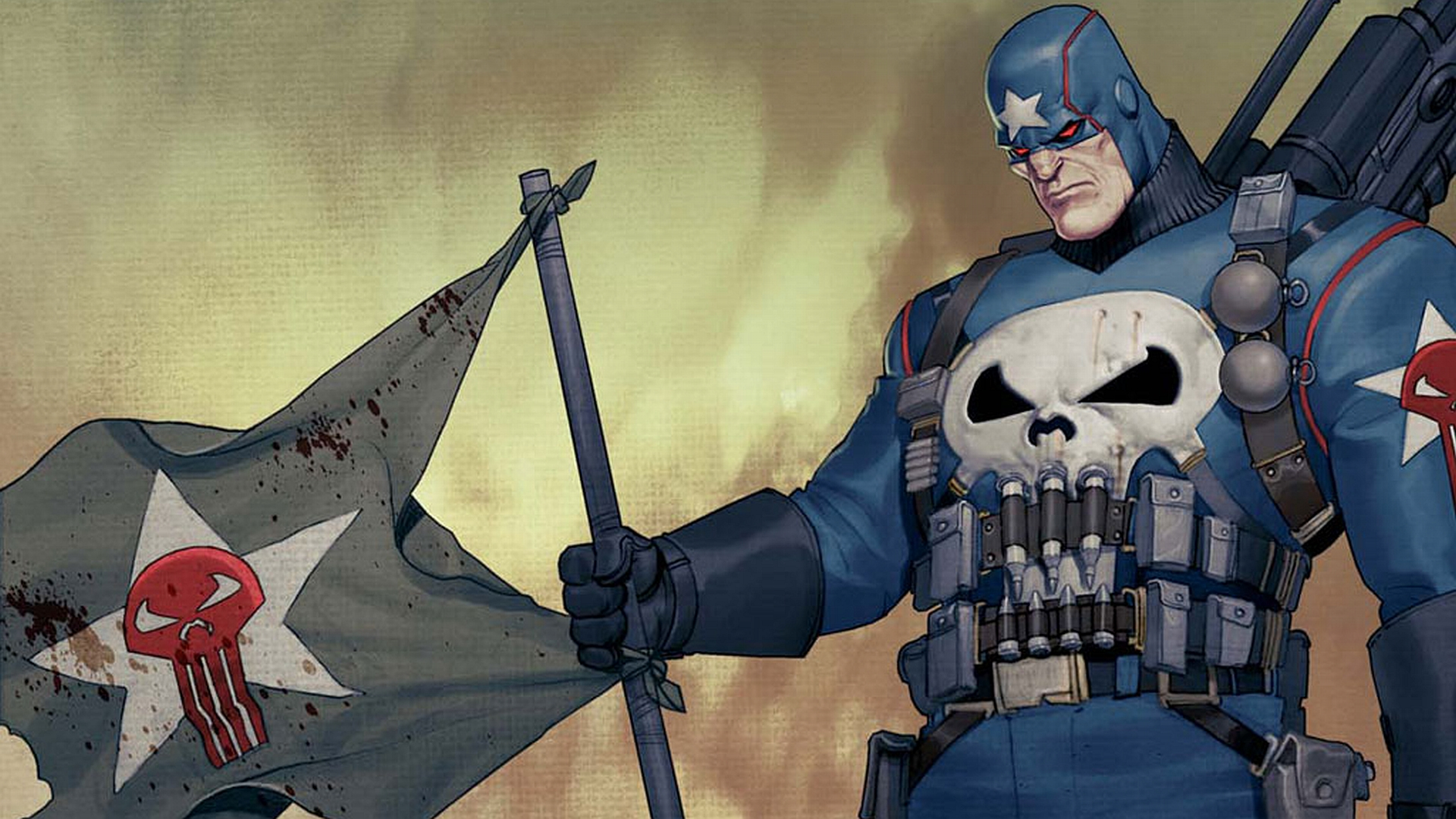 the punisher with flag Wallpaper Background 20253 1920x1080