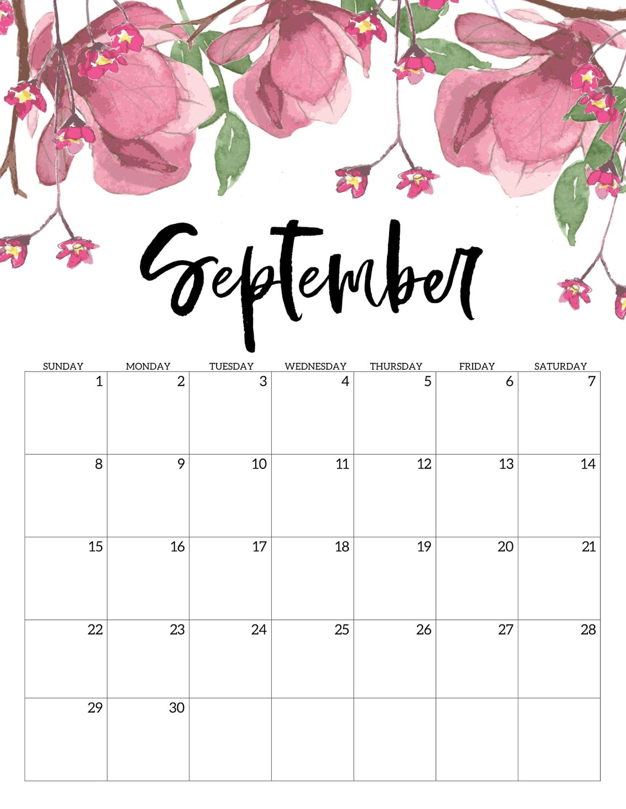 September 2019 Calendar Printable Blank Templates   Wallpaper 1237x1600