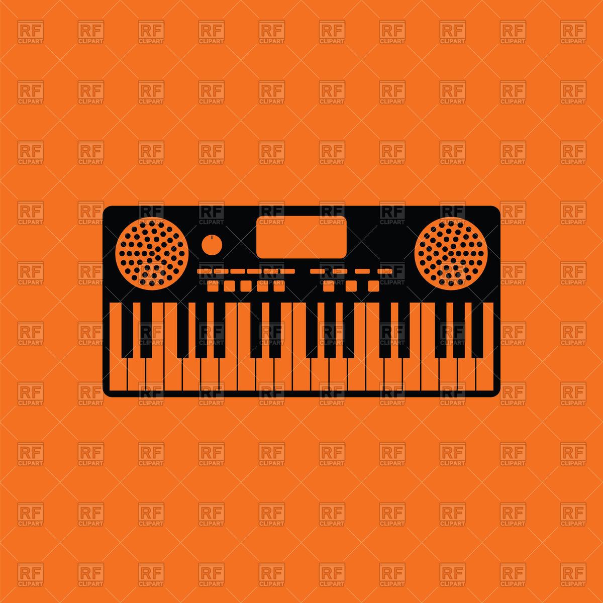 Music synthesizer icon on orange background Vector Image of Music 1200x1200