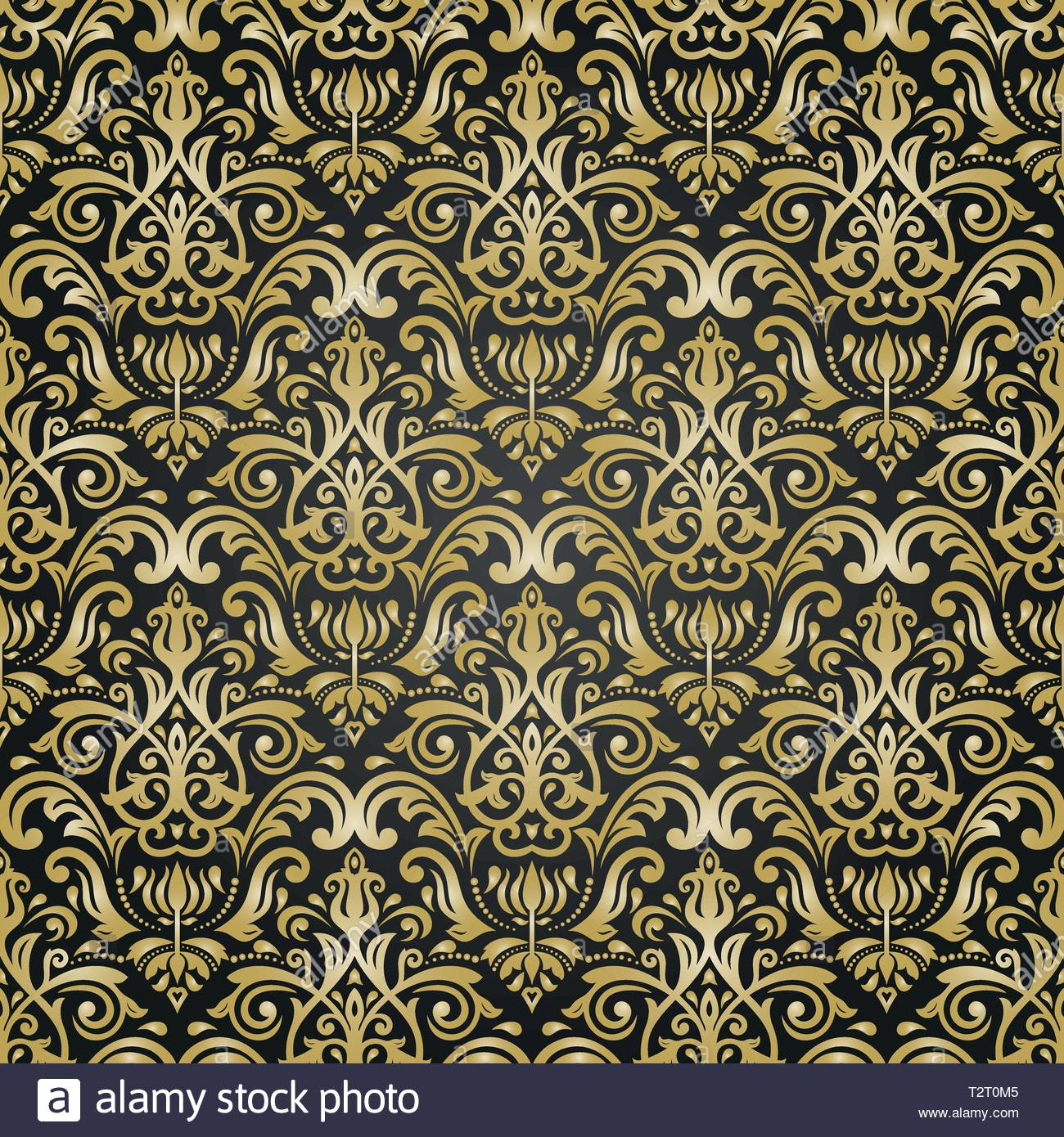 Classic seamless vector black and golden pattern Damask orient 1300x1390