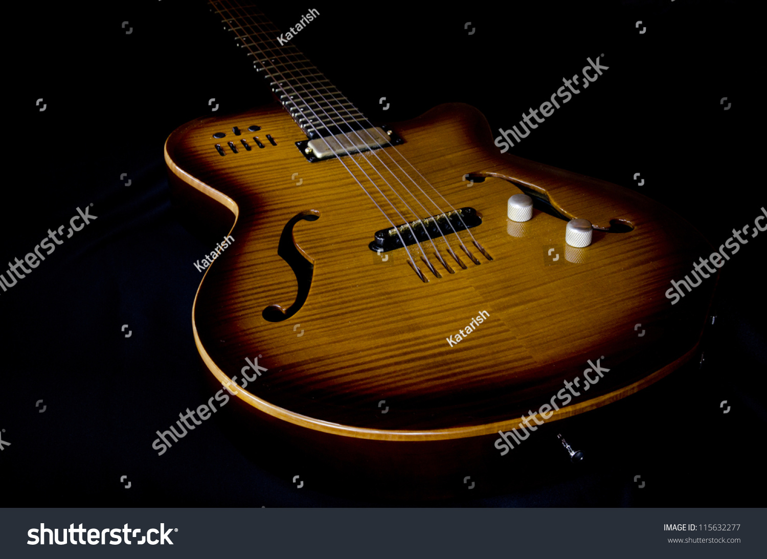 Electric Guitar On Black Background Stock Photo 115632277 1500x1093