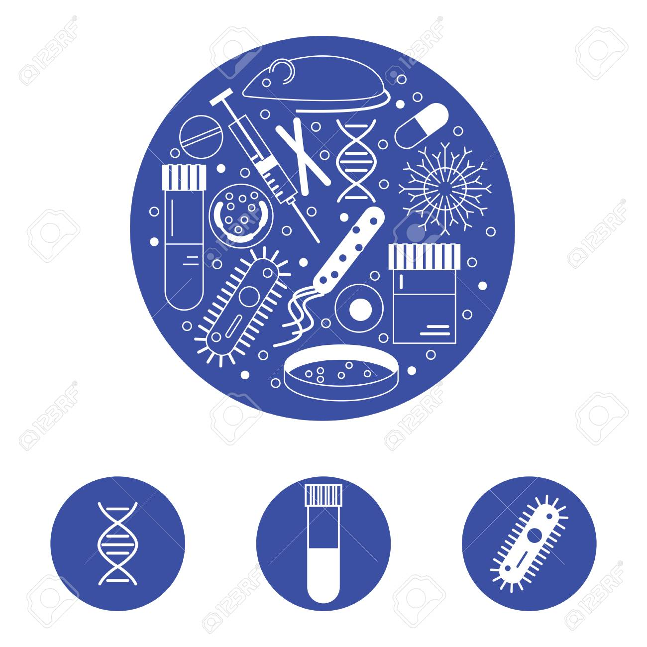 Immunology Research Icons Forming A Circle In White Line On Blue 1300x1300