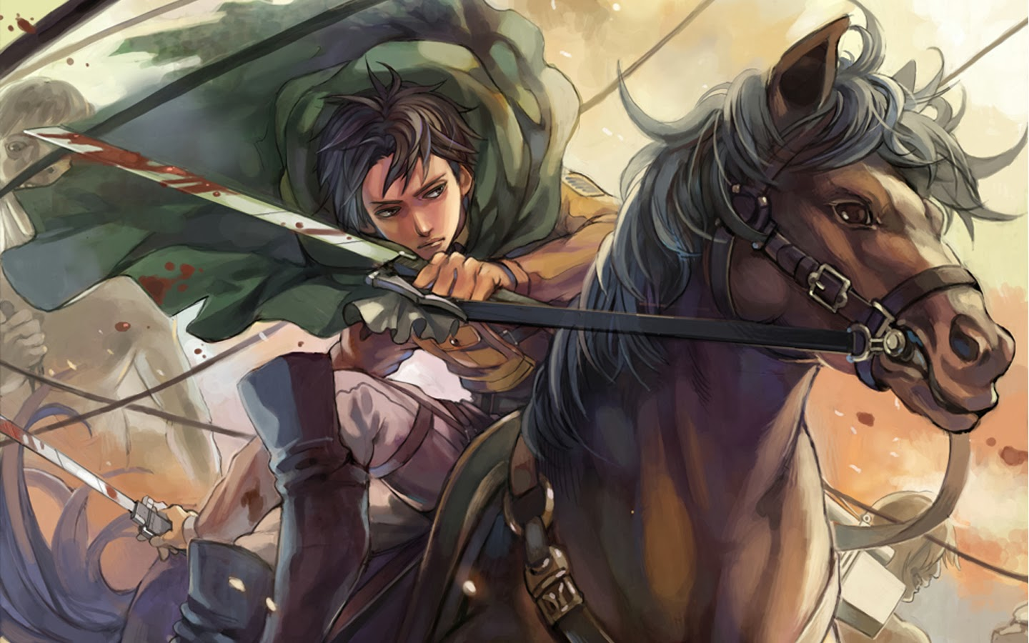 horse riding titan attack on titan shingeki no kyojin hd wallpaper 1440x900