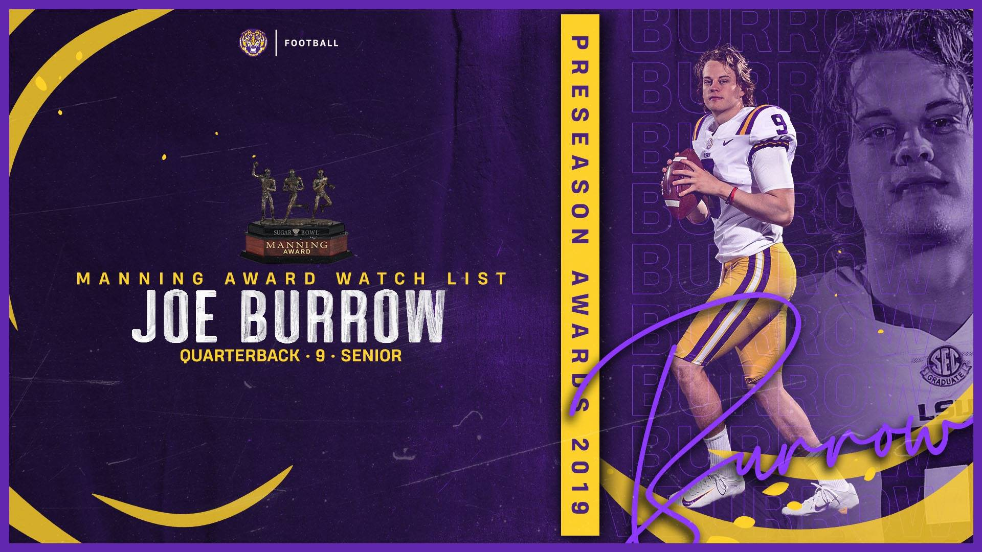Burrow Named to Manning Award Watch List   LSU Tigers 1920x1080