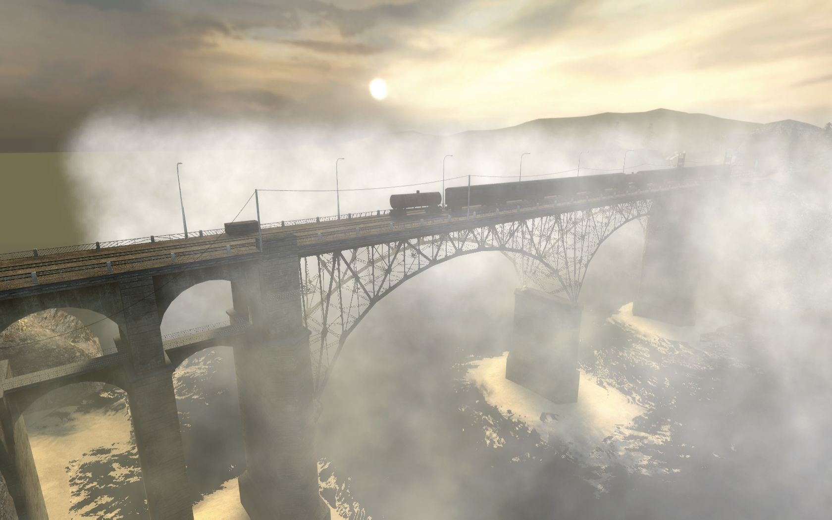 This is my favorite part of Half Life 2 The long bridge near the 1680x1050