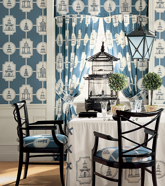 Chinoiserie Chic Thibaut Pagoda Wallpaper and Fabric 550x620