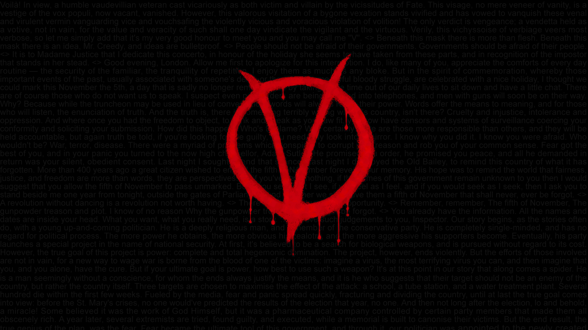 V for Vendetta Quotes HD Wallpaper 1920x1080 by Swagirr on 1920x1080