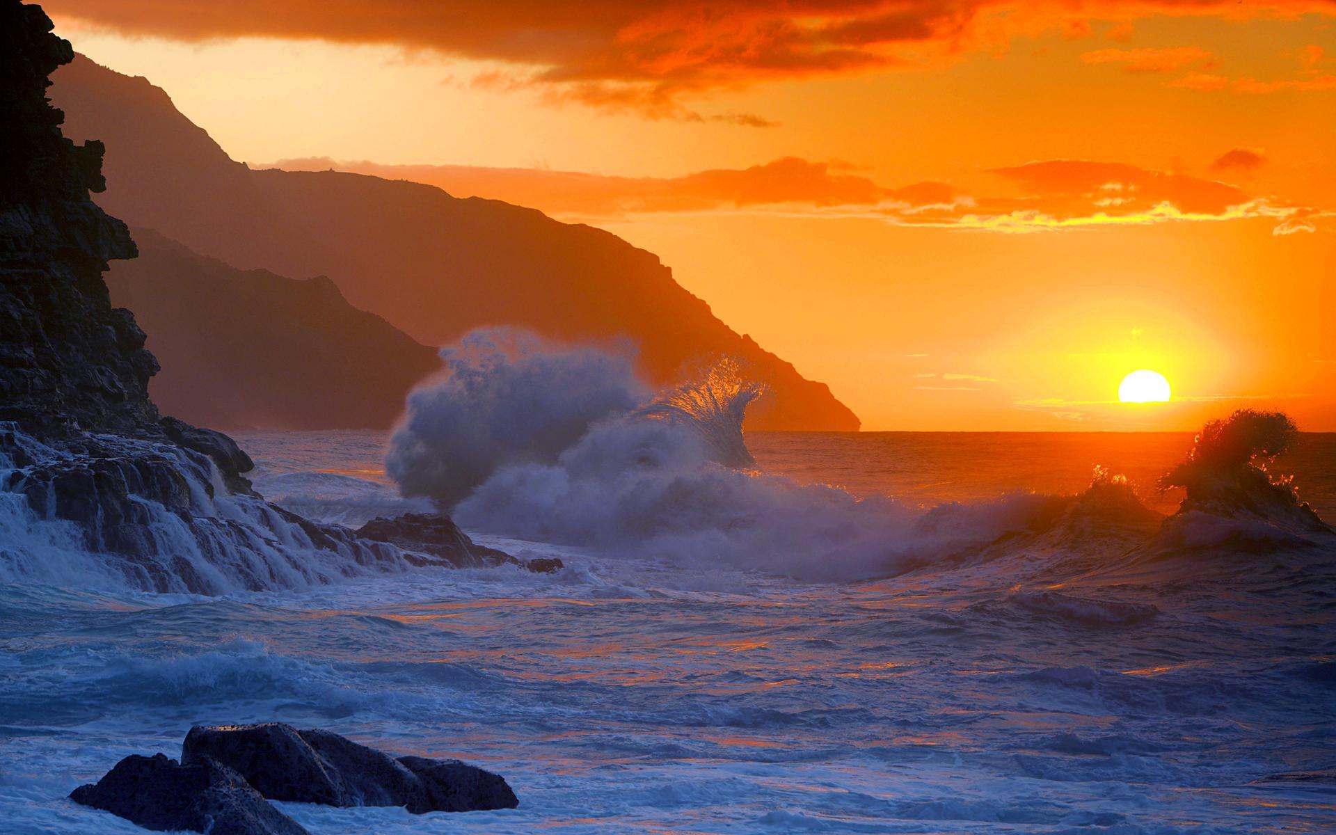 закат над бушующим морем  № 602836  скачать